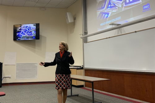 Sandra Long speaking at Dean College January 2020